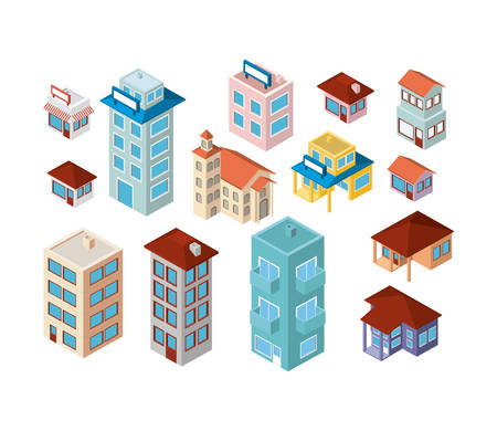 Mini set buildings isometric icons vector illustration design. Ilustração