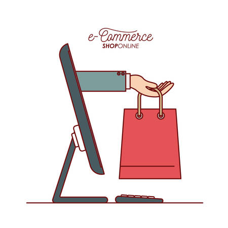 Desktop computer with hand holding a bag shopping side view e-commerce shop online on white background vector illustration Illustration