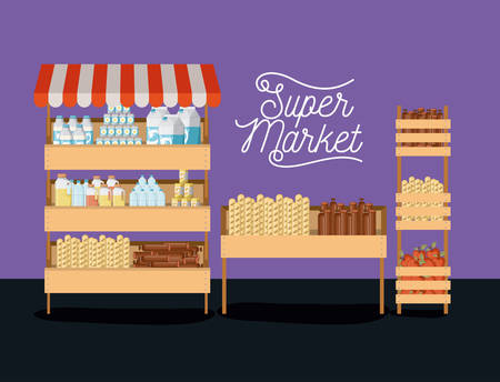 supermarket three shelves colorful poster design with foods and beverages vector illustration