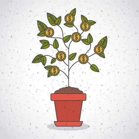 Plante avec l'icône de pièces. Les idées d'investissement profitent et démarrent le thème. Design coloré et isolé. Illustration vectorielle Banque d'images - 97702331