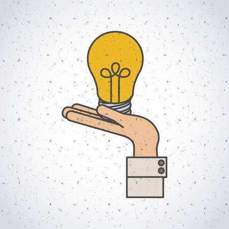 Ampoule et icône de la main. Les idées d'investissement profitent et démarrent le thème. Design coloré et isolé. Illustration vectorielle Banque d'images - 97704863