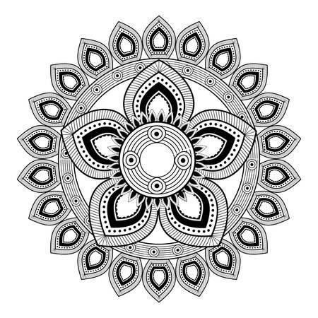 Mandala icon. Bohemic ornament indian and decoration theme. Black and white design. Vector illustration