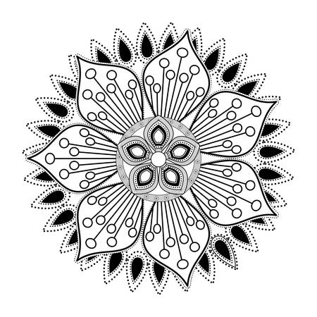 Mandale icon. Bohemic ornament indian and decoration theme. Black and white design. Vector illustration Illustration