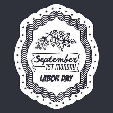 Label of labor day and leaves icon. Usa america september and national theme. Isolated design. Vector illustration
