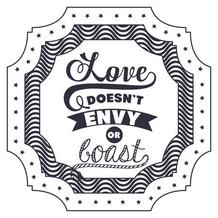 Attitude phrase about love inside frame icon. Inspiration motivation and positive theme. Isolated design. Vector illustration