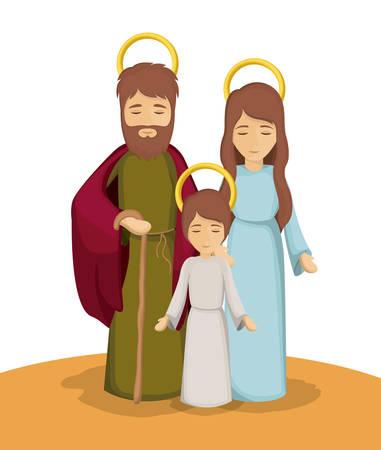 Mary joseph and jesus cartoon icon. Holy family and merry christmas season theme. Colorful design. Vector illustration