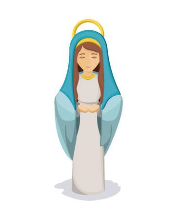 Mary cartoon icon. Holy family and merry christmas season theme. Colorful design. Vector illustration