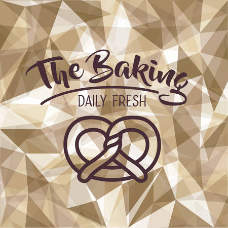 Pretzel icon. Bakery food daily and fresh theme. Polygonal background. Vector illustration Çizim