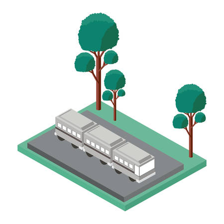 bus parking and trees scene isometric icon vector illustration design