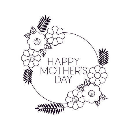 mothers day and flowers card drawn vector illustration design