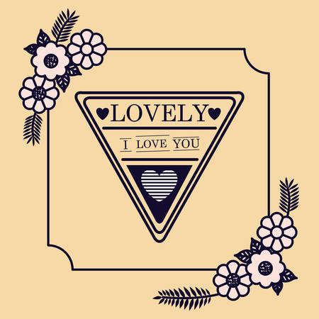 love floral seal card design vector illustration design