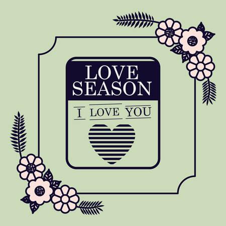 love season floral seal card design vector illustration design
