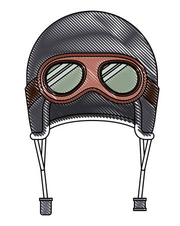Classic motorcyclist helmet with goggles vector illustration design