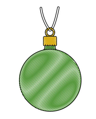 Christmas ball hanging decorative icon vector illustration design.