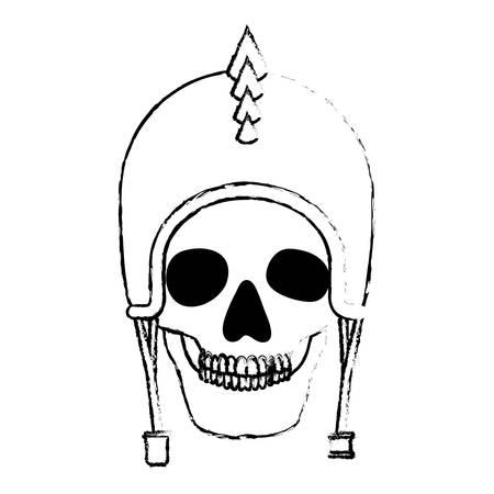 skull with motorcyclist helmet and thorns vector illustration design