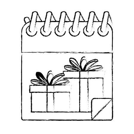 christmas calendar with gifts vector illustration design Illustration