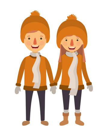 couple with winter suit characters vector illustration design