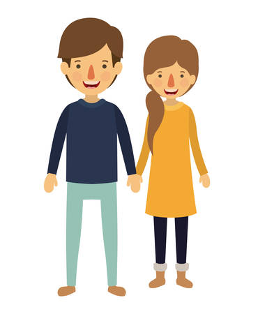 Couple with winter clothes characters vector illustration design.