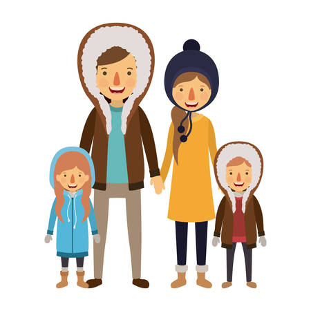 family parents and childrens with winter clothes vector illustration design Illustration