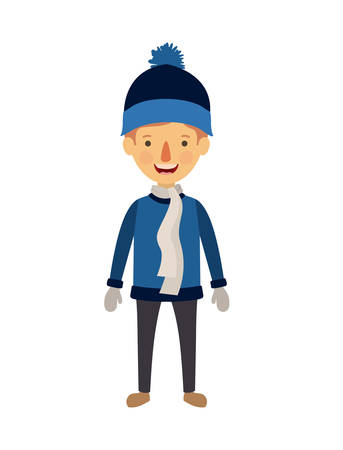 little boy with winter clothes character vector illustration design