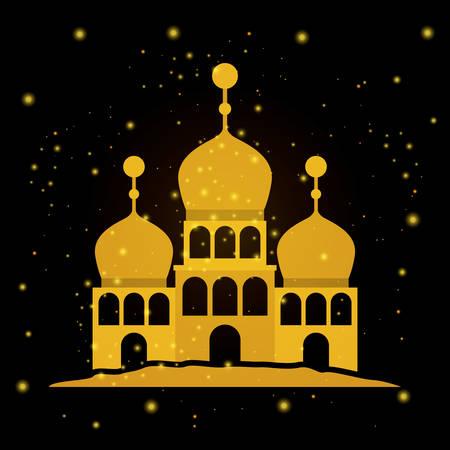 Eid mubarak temple facade vector illustration design Vettoriali
