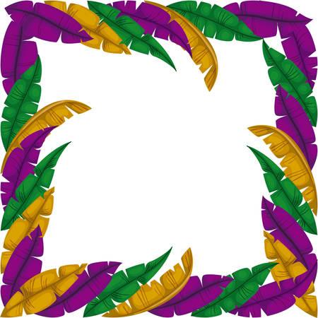 carnival feathers frame decorative vector illustration design