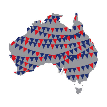 australia map with garlands vector illustration design