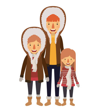mother and children with winter clothes vector illustration design