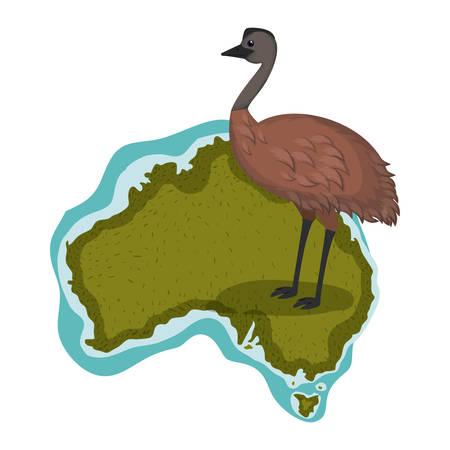 wild emu bird over australian map vector illustration design Çizim