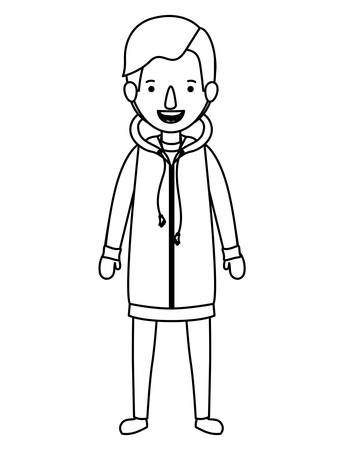 young man with winter clothes vector illustration design Illustration