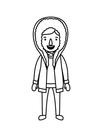 A little girl with winter clothes vector illustration design Çizim