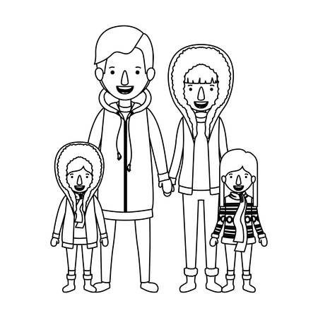 Family with parents and children wearing winter clothes vector illustration design.