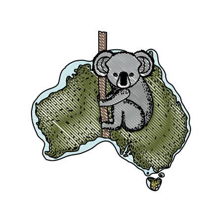 A wild koala creature over Australian map vector illustration design