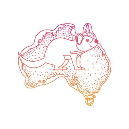 wild tasmanian devil creature over australian map vector illustration design
