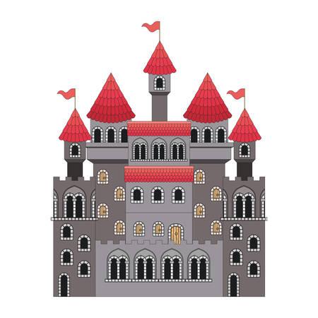 medieval castle with flags vector illustration design Illustration