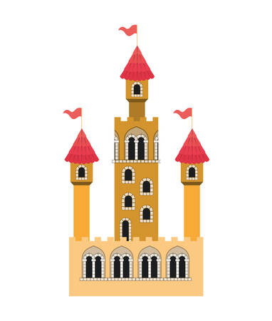medieval castle with flags vector illustration design Ilustração