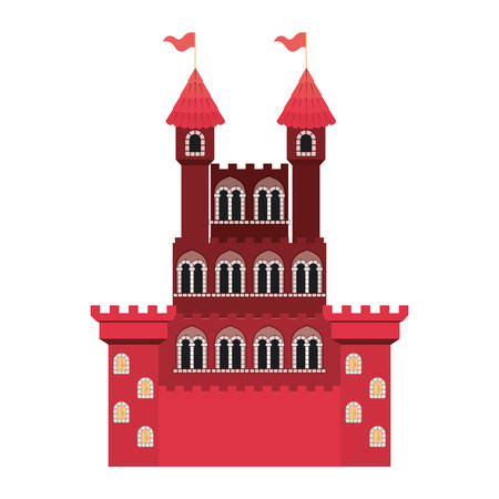 medieval castle with flags vector illustration design 矢量图像