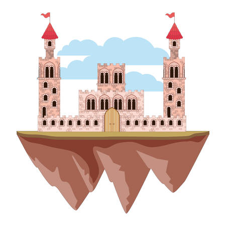 Medieval castle on ground vector illustration design