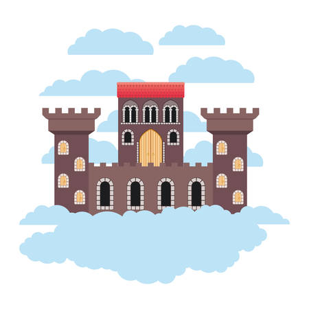 medieval castle on the sky vector illustration design