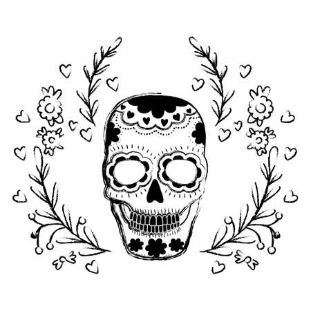 death day skull with wreath vector illustration design