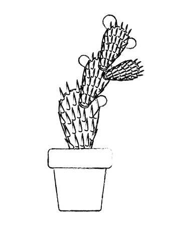 nopal cactus in pot vector illustration design