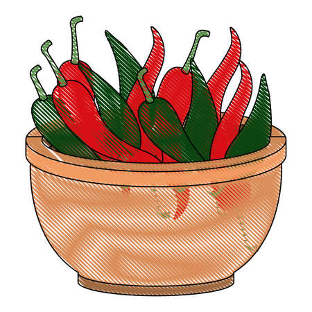 chilli pepper hot vegetable in vessel vector illustration design