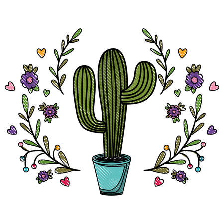 cactus nopal with wreath natural icon vector illustration design