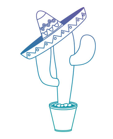 Cactus in pot with Mexican hat illustration design
