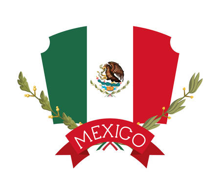 mexican emblem with flag and ribbon frame vector illustration design
