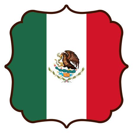 mexican emblem with flag vector illustration design Vectores