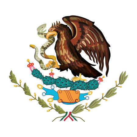emblem of the mexican flag vector illustration design Vettoriali
