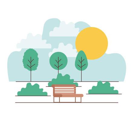 park scene with chair vector illustration design Illustration