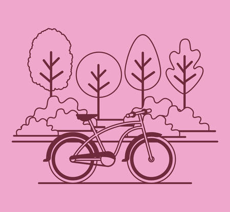Park scene with bicycle vector illustration design Illustration