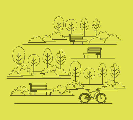 Park scene with chair and bicycle vector illustration design. Illustration